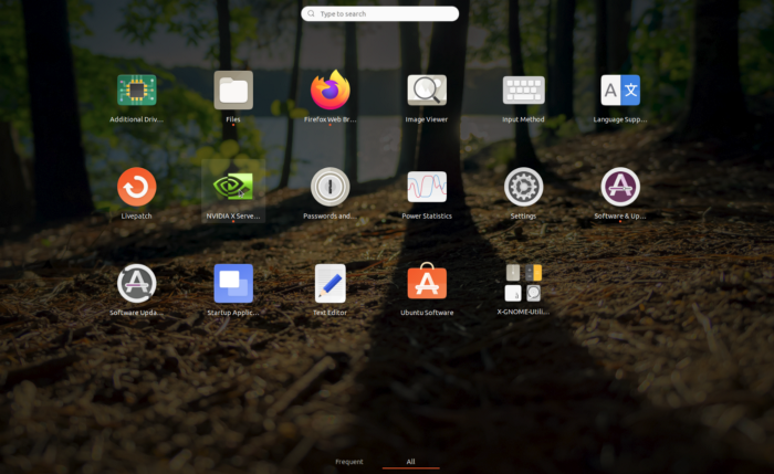 Ubuntu App Tray